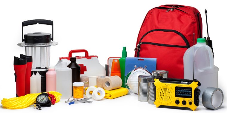 An emergency supply kit containing various essentials