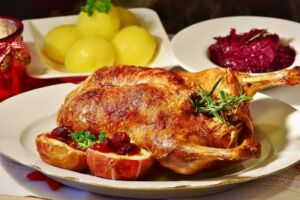 Duck and fruit set for Christmas dinner