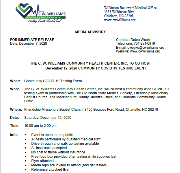 CW Williams Community Health Center December 12, 2020 COVID-19 Testing Press Release